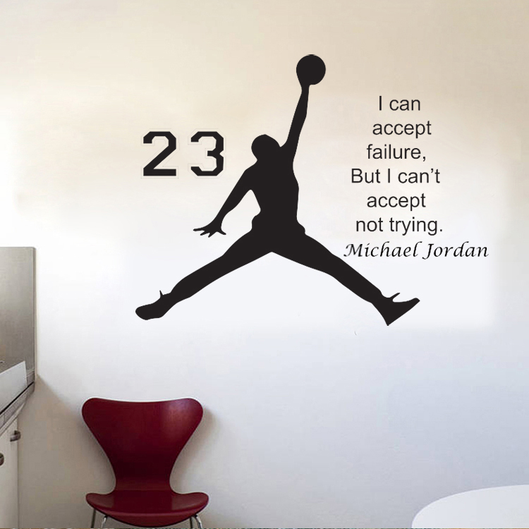 2017 New Design Michael Jordan Wall Sticker Vinyl DIY Home Decor Basketball  Player Decals Sport Star For Kids Room Free Shipping In Wall Stickers From  Home ...