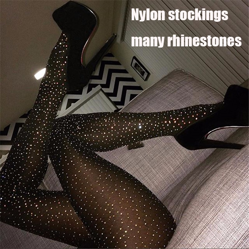 Women Tights With Crystals Bling Women Stocking Rhinestones Nylon Sheer Pantyhose Party Hosiery Sexy Shiny Medias De Mujer SW137