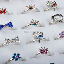 Wholesale Mix Lot 60pcs Silver Plated Assorted Design Crystal Ring Cute Kid Child Party Small Size Adjustable Fashion Heart ring