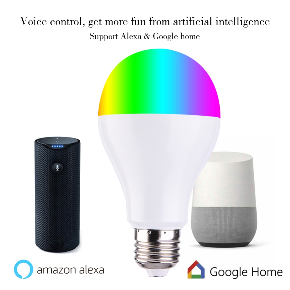 Smart Light Bulbs APP Remote Control LED Smart WIFI Bulb LED Color Adjustment Connect For Amazon Alexa Google Home E27/E26/B22
