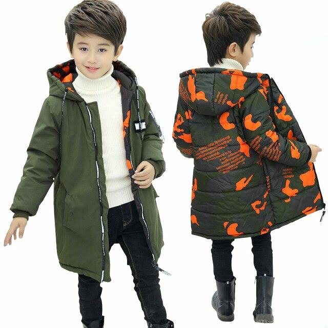 Мальчиков две стороны носить куртка зимнее пальто для мальчиков с капюшоном 2018 новая детская камуфляжная утепленная куртка ребенок теплый хлопок Стеганое пальто