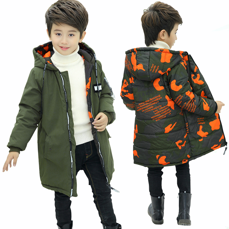Boys Two Sides Wear Jacket Winter Coat for Boys Hooded 2018 New Kids Camouflage Thick Jacket Child Warm Cotton Padded Coats