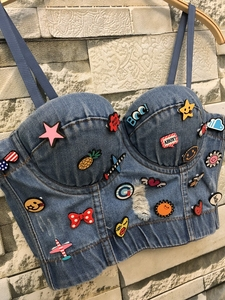 Image 3 - New Cowboy Hole Push Up Denim Bustier Crop Top Womens Ripped Sexy Cropped Feminino Strappy Bralette Bras Camis Tops Cropped