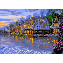 Painting By Number DIY Dropshipping 40x50 50x65cm Lake Villa Blue Dyke Landscape Canvas Room Decoration Art picture Present