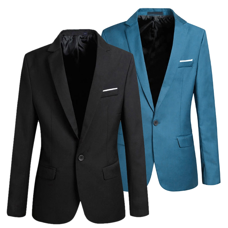 New Hot Spring Autumn Men Blazer Long Sleeve Solid Color Slim Casual Thin Suit Jacket Plus Size YAA99