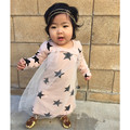 Специальное предложение 2016 весна лето новорожденных девочек одежда детей платья с длинными рукавами звезда шаблон nununu же satyles платья kikikids