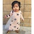 Oferta especial 2016 verão do bebê meninas roupa dos miúdos vestidos de manga comprida vestidos de padrão de estrela nununu mesmo satyles kikikids