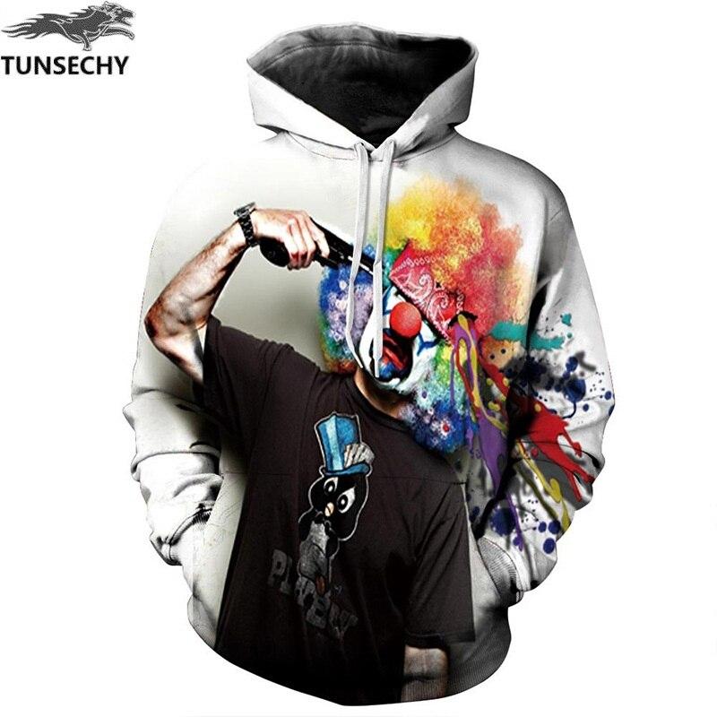 TUNSECHY Autumn Winter Fashion Men/women Hoodies With Cap Print Gun Clown Hooded Hoody Sweatshirt 3D lovely Tracksuits