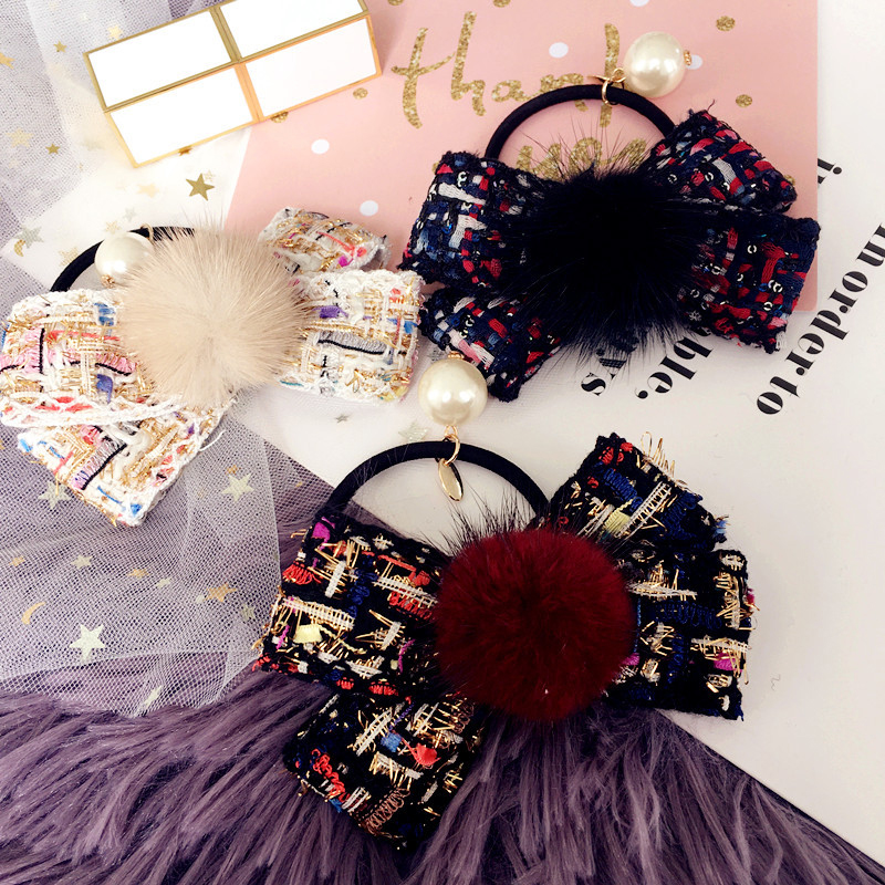 2017 New Fashion Knitting Bow Velvet Ball Elastic Hairband with Pearl Rubber Band Women Hair Accessories Autumn and Winter Style 2017 new arrival fashion flower hair ropes for women luxury brand pearl tassel ladies elastic hair band hair accessories ns050
