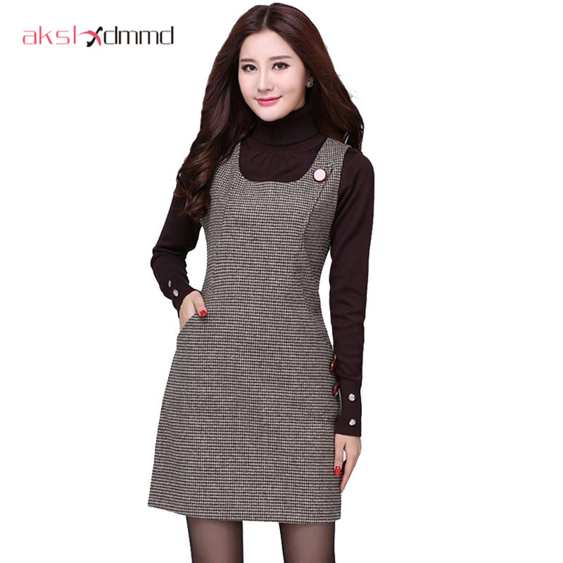AKSLXDMMD 2017 Autumn Winter Woolen Women's Dress Plus Size Vest Dresses Slim Basic Office Dress Female Vestidos LH523