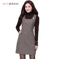 Large Size 2016 Autumn Winter Woolen Women S Dress Thousand Birds Vest Dresses Slim Buttoming Office