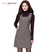 Large Size 2016 Autumn Winter Woolen Women S Dress Thousand Birds Vest Dresses Slim Buttoming Office