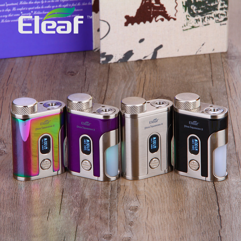 New Original 100W Eleaf IStick Pico Squeeze 2 Squonk Box Mod with 8ml Large Squonk Bottle & Colorful LED Light No 18650 Battery