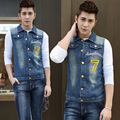 New 2016 Men's Clothing Han Edition 7 Characters Sleeveless Clothes Fashion Leisure Coat Cowboys Vest
