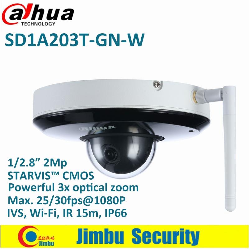 купить Dahua PTZ Camera 2MP 3x Starlight IR15 IP Camera SD1A203T-GN-W Support Wi-Fi 1/2.8'' 2Mp STARVI CMOS IVS IR 15m IP66 онлайн