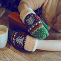 2016 Chrismas Tree Pattern Double Layer Knit Halter Mittens Warm Winter Gloves Women 8OOH