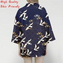 Vintage Japanese Harajuku Style Blouse Kimono Cardigan Shirts Printed Japan Kimono Crane Print Asian Clothes Harajuku Streetwear цены