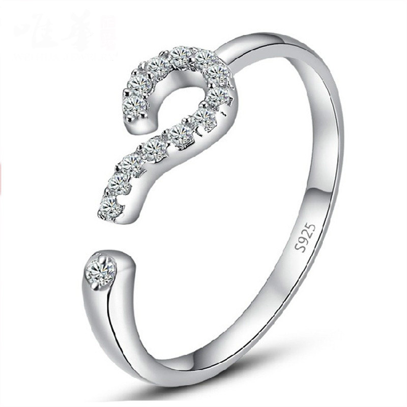 2016 Fashion Silver Plated Ring Opening Question Mark Confession Of Love Luxury CZ Zircon Ring Design Women Jewelry Wholesale