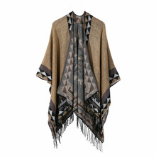 TOLINA Sexy retro occident style Women Knitted Cashmere Poncho Capes Shawl Cardigans
