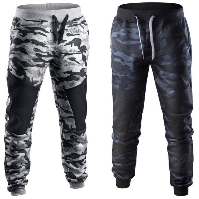 MUQGEW Men's trousers Spring Winter Casual Patchwork Camouflage Sweatpants military