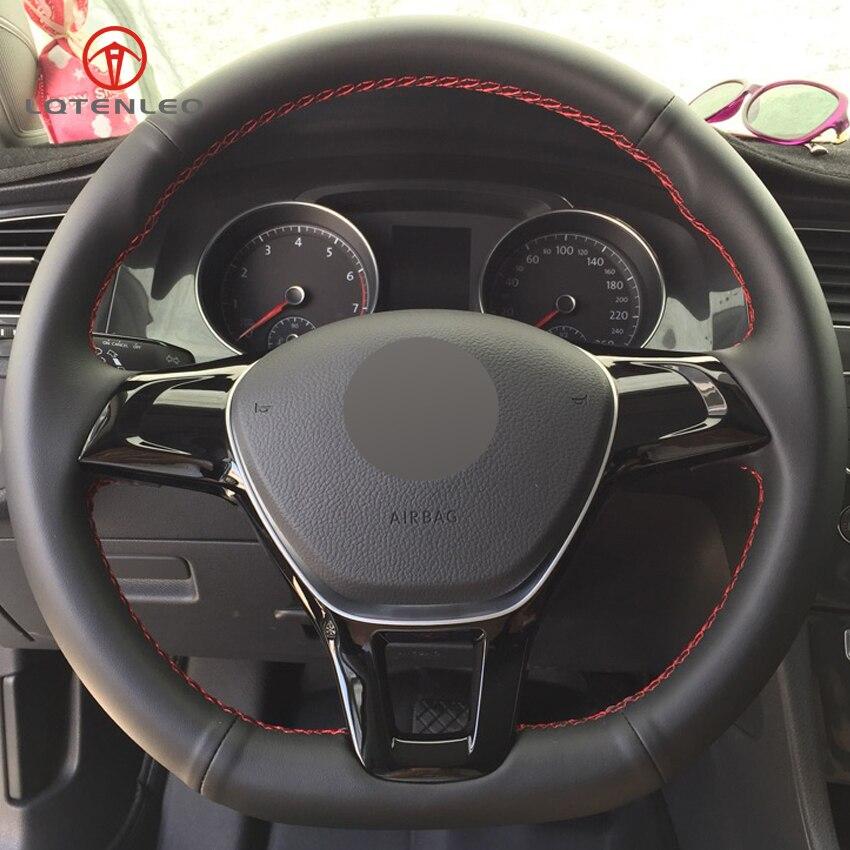 LQTENLEO Black Genuine Leather DIY Hand stitched Car Steering Wheel Cover for Volkswagen VW Golf 7