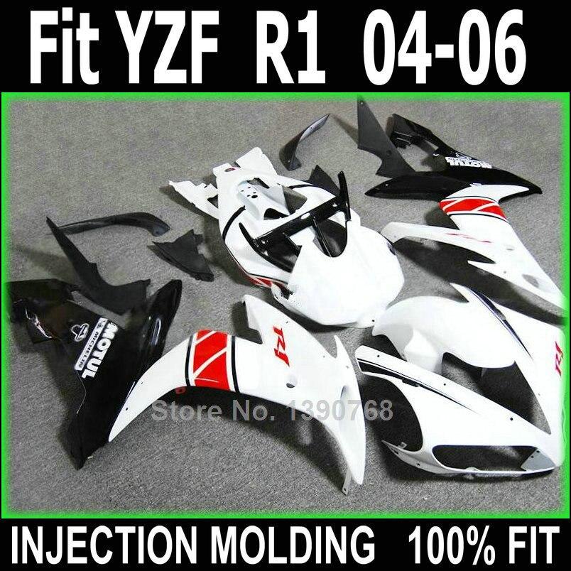 Plástico do molde de injeção carenagens para Yamaha YZFR1 2004 2005 2006  kit carenagem preto branco YZFR1 04 05 06 NV103 306634954b
