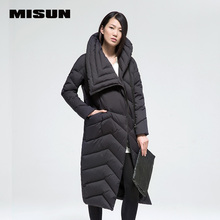 MISUN winter jacket women loose oblique zippers pockets big stand collar solid thickening X-Long outerwear down coat & parkas