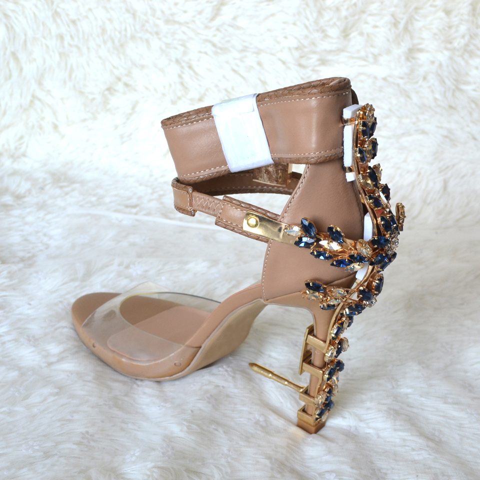 6227df5b2f9c5 Luchfive Special Jeweled Heel Gladiator Sandals Women Ankle Strap Lock PVC  Clear Peep Toe Crystal Women. sku  32848222990
