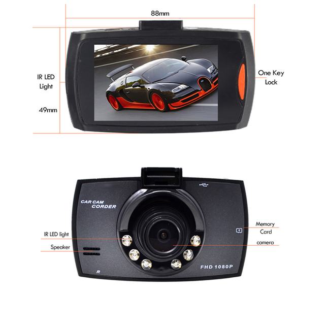 Full HD 1080P Car DVR 2.7 Inch IPS Screen Car Camera Dual Lens Dash Cam Video Recorder Night Vision G-sensor Registrator 2
