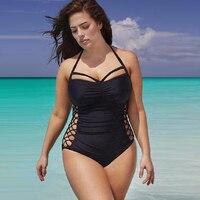 Plsu Size XXXL Bandage Swimwear Women Push Up One Piece Swimsuit Black Sexy Hollow Trikini Bath