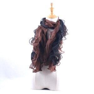 Image 2 - Promotion Sale! Summer Fungus Edges Scarves Fashion Dot Print Ruffle Shawl Women Elastic Band Head Scarf Muslim Chiffon Hijab