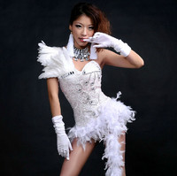 Nightclub Dj Female Stage Costumes For Singers Sexy Sparkling Bodysuit Feather Lace Perspective Bar Ds Jazz Performance Clothing