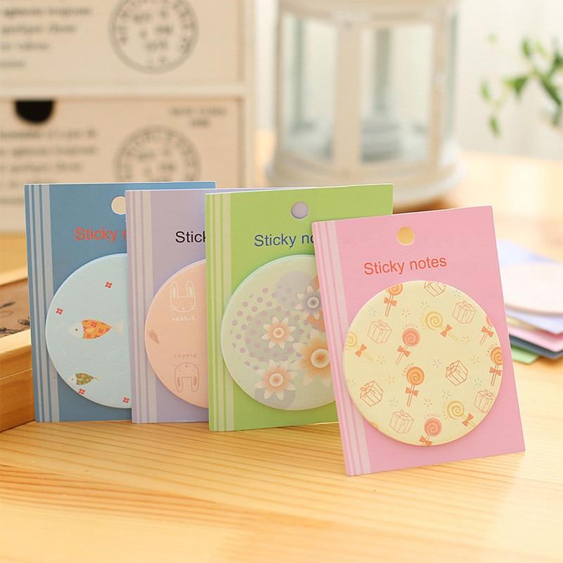 2Pcs Korean Round Cute Kawaii Memo Pad Circular Stationery Store Office Post it Sticky Note Kit Agenda Message Sticker Papeleria