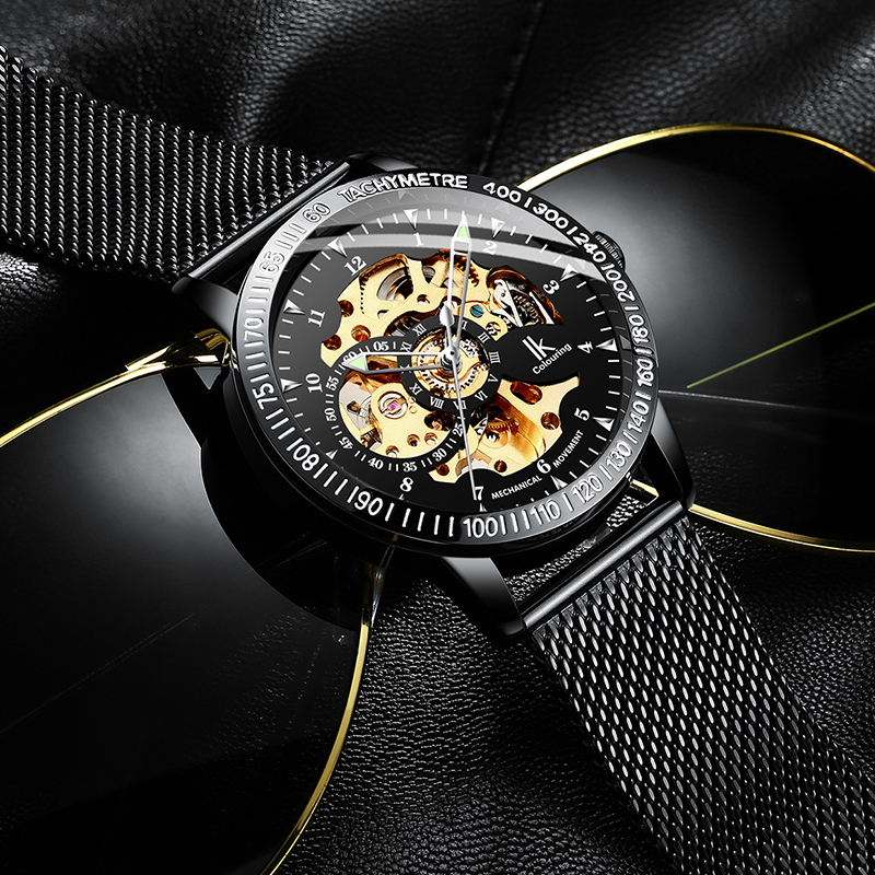 IK Colouring New Men Watches Luxury Business Casual Black Mesh Bracelet Automatic Menchaniacl Skeleton Wristwatch 98226G