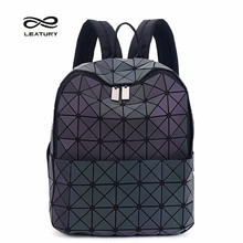 Leatury Backpack Noctilucent Women Baobao Bags Laser Lattice Geometric Bao bao Luminous Backpack for Teenage Girls School Bags