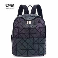 Leatury новые рюкзак Серебристые Для женщин Мода Сумки лазерной решетки геометрический световой рюкзак для подростков Обувь для девочек Школьные сумки