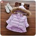 Alta qualidade confortável macio Meninas de Inverno Com Capuz Para Baixo Casaco Bebê Crianças 3 Cores Engrossar Parkas Roupas Casaco Roupas Quentes
