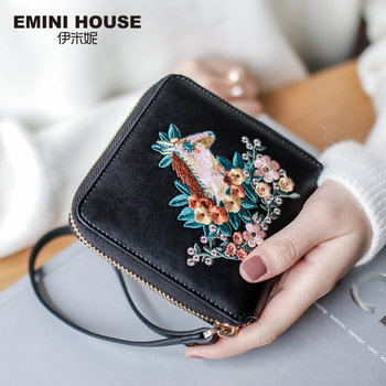 EMINI HOUSE Embroidery Wallet Women 2018 Purse Female Women Wallets Luxury Brand Wallets Designer Purse Wallet For Credit Cards Women Wallets