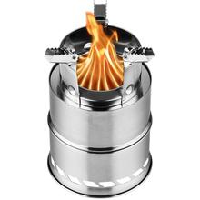 Portable Camping Wood Stove Firewood Outdoor Cooking Lightweight Stainless Steel Picnic Big size