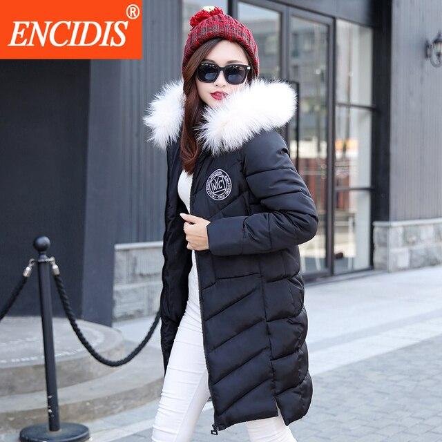 Venda quente Plus Size mulheres casaco de Inverno 2016 Novo Da Senhora Longo casacos e Jaqueta Feminina Com Capuz De Pele Parka roupas Comprimento Assimétrico M91