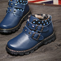 Новый 2016 Детей Зимние Ботинки Натуральной Кожи Мальчиков Сапоги Теплый Удобная Мода Заклепки Звезды Дети Мартин Сапоги Мальчиков Обувь