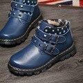 Nuevos 2016 Niños Del Invierno Botas de Cuero de Vaca Niños Botas Calientes Cómodos Remaches Moda Estrellas Niños Martin Botas Zapatos de Los Muchachos