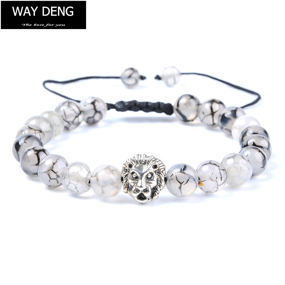 Way Deng – Women Men Vintage Silver Lion Charm Beaded Bracelet Braided Rope Cracked Transparent Stone Strand Bracelets – YFJ030