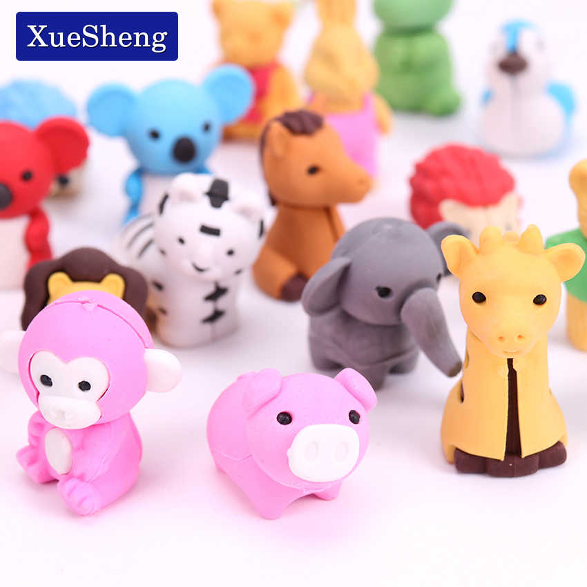 3PCS New Creative Stationery Supplies Kawaii Animal Pencil Erasers for Office School Kids Prize Writing Drawing Student Gift
