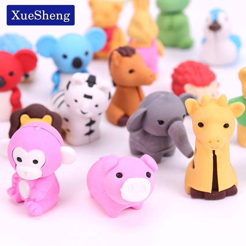 Creative Stationery Supplies Kawaii Animal Pencil Erasers For Office School Kids Prize Writing Drawing Student Gift 3PCS