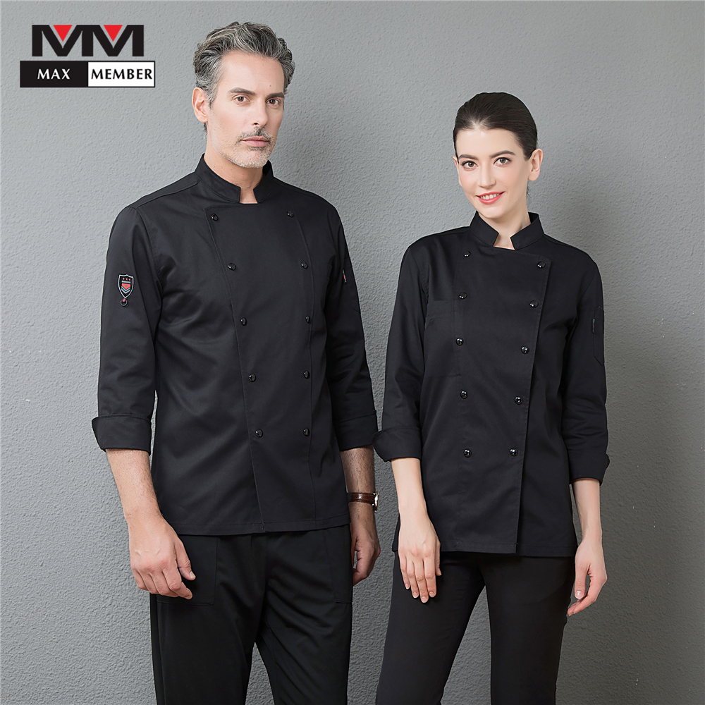 Men's Catering Top Restaurant Kitchen Cooking Long Sleeve Chef Clothing Waiter Work Jackets Professional Uniform Overalls Outfit