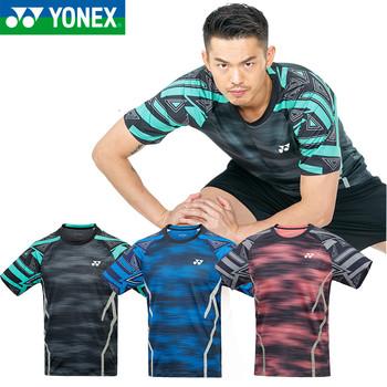 Nowość Yonex męskie koszulki do badmintona oddychająca wygoda szybkie suche Fitness Lin Dan Style koszulka sportowa z krótkim rękawem tanie i dobre opinie