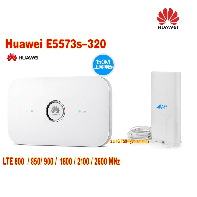 Huawei E5573S-320 150Mbps LTE Portable WiFi HotSpot +4G LTE 49DBI mimo panel directional antenna TS9 lf ant4g01 4g lte ts9 plug 49dbi mimo antenna signal booster