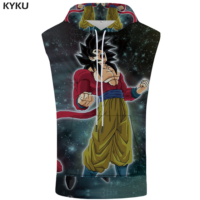 KYKU Dragon Ball Z Sleeveless Hoodie Goku Shirt Starry Sky Singlets Rock Stringer 3D Bodybuilding Summer Mens Clothing Casual