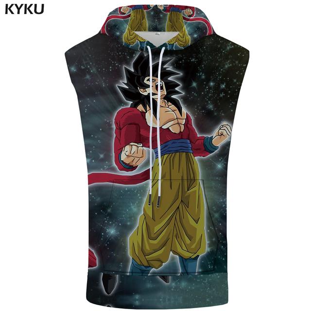 KYKU Dragon Ball Z Sleeveless Hoodie Goku Shirt Starry Sky Singlets Rock Stringer 3D Bodybuilding Summer Mens Clothing Casual
